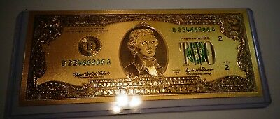 24 KT 99.9% Gold USA $2 Dollar Bill, Green Seal - PVC Holder - USA Free Shipping