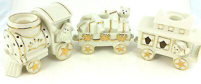 Mikasa 3 Piece Porcelain Train Holiday Christmas Elegance Votive Candle Set