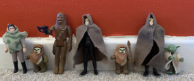 Vintage Star Wars Figures Rebels, Luke Skywalker, Chewbacca, Leia, Wicket, Yoda