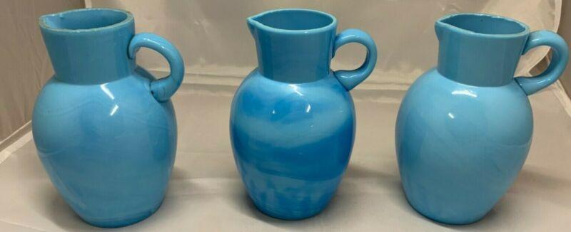 3 Vintage Blue Opaline Portieux Vallerysthal Blue Aqua Milk Glass Vase Pitchers