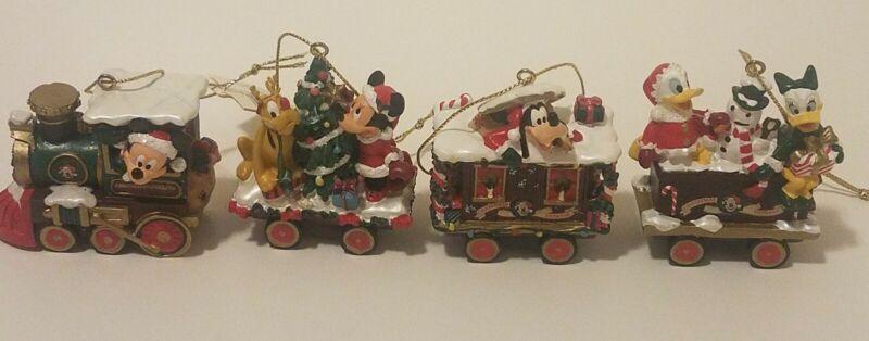 Mickey Mouse Express Christmas Train Disney 4 Ornaments lot Walt Disney