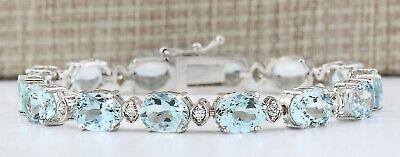 25.75 Carat Natural Aquamarine 14K White Gold Diamond Bracelet