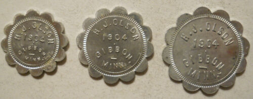 Set of 3 H. J. Olson (Gibbon, Minnesota) Good for trade tokens