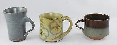 Lot of 3 Vintage Studio Ceramic/Stoneware Mugs/Cups-2 Signed-