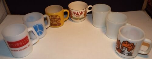 VINTAGE 7 MIXED CUP MUG LOT FIRE KING FEDERAL MILK GLASS ADVERTISING