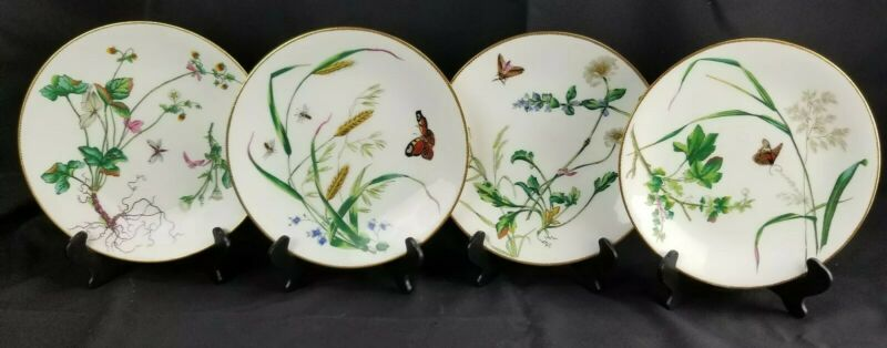 Set Of 4 English Minton Aesthetic 19th Century Plates Insects