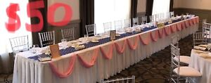 Pink fabric for wedding Head table