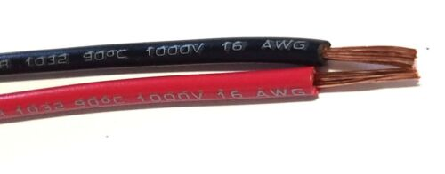 16 GAUGE WIRE RED & BLACK 25 FT EACH PRIMARY AWG STRANDED COPPER POWER REMOTE
