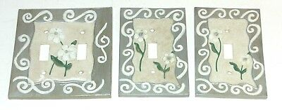 Single & Double Wall Switch Plate Floral Gray Cream Light Switch  3D  - Gray Wall Plate