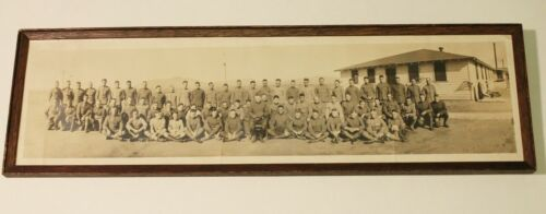 Original WWI Era Wooden Framed Soldiers Panoramic Photo