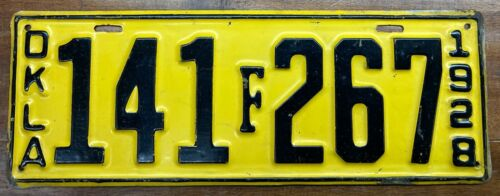 VERY, VERY NICE LOOKING, NEVER ISSUED 1928 OKLAHOMA LICENSE PLATE, 141 267, FORD