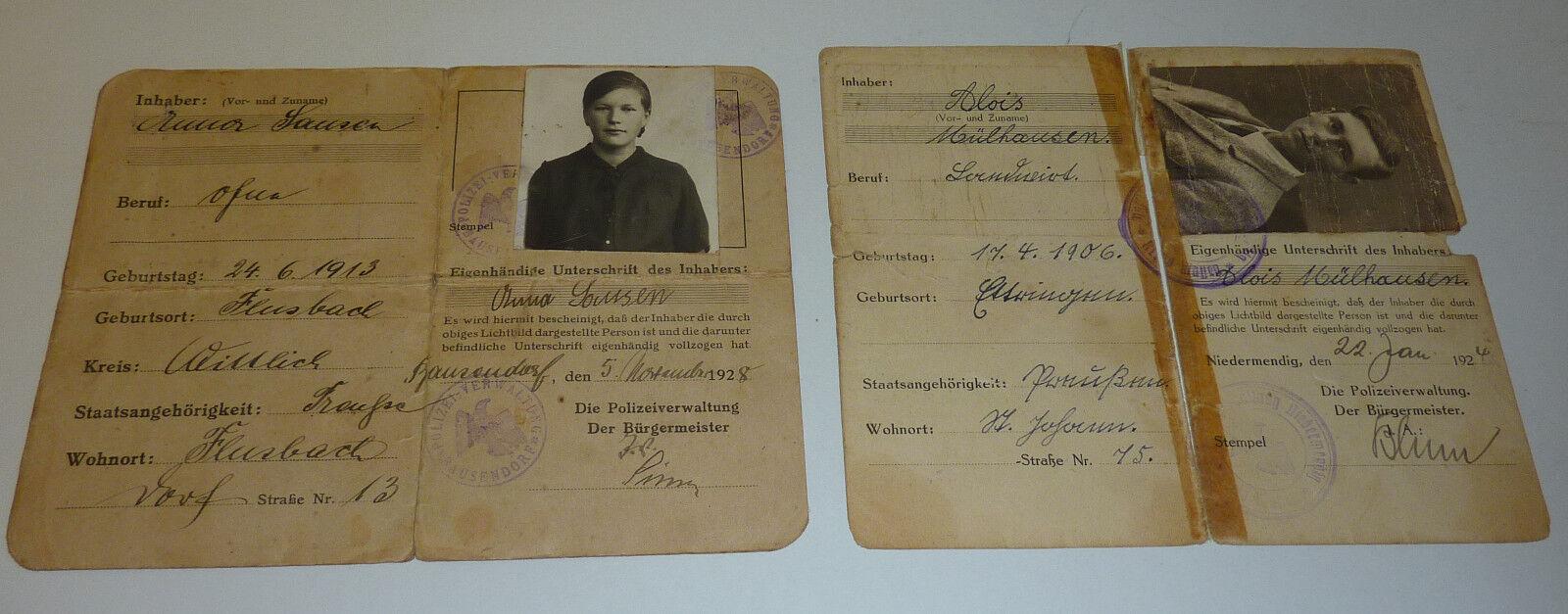 Besetzte Gebiete 2 Ausweise Polizei Bausendorf +  Niedermendig Bürgermeister