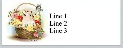 Personalized Address Labels Cat Kitten In Flower Basket Buy3 Get1 Free Jx 383