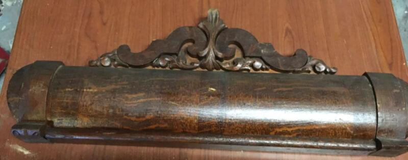 "Antique Salvage Pediment Header Crown Molding Carvings Tiger Oak 29.25"" X 11.25"""