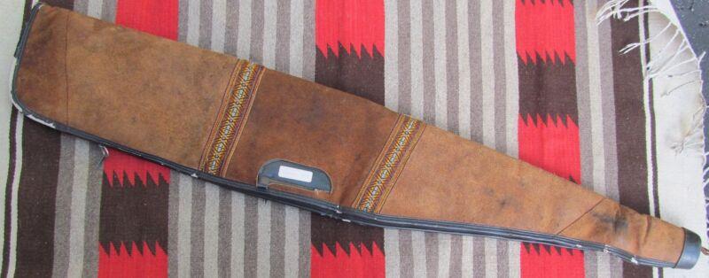 BUCHEIMER Rifle Gun Case Holder Cowhide Leather Sheepskin Western Distress VTG