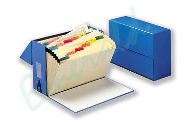 Expanding BLUE Box File 20 Pockets A - Z Myler Tabs Foolscap - Same Day Dispatch