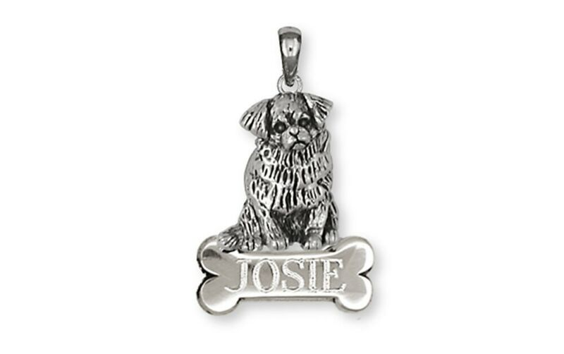 Tibetan Spaniel Personalized Pendant Handmade Sterling Silver Dog Jewelry TS3-NP