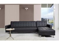 Black Faux Leather sofa Bed and Recliner
