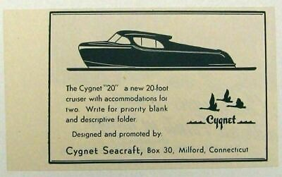 1946 Print Ad Cygnet Seacraft 20' Boats Made in Milford,CT