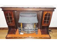 VINTAGE STONE GAS FIREPLACE WITH BEAUTIFUL MAHOGANY MANTLEPIECE SURROUND FOR INSET FIRE / SEALED IN