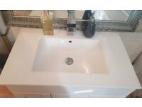 White Vanity Unit with Ceramic Basin and Waterfall Tap
