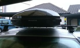 Car roof box, perfect condition used twice. Rails included, on a Ford S Max just now. Cost £400