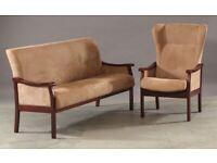 Vintage retro Danish mid century alcantara beige wooden mahogany sofa couch armchair set