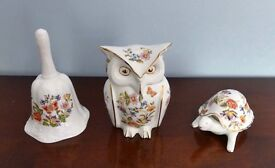 Ainsley ( Aynsley ) Cottage Garden China- Bell,Owl &Tortoise