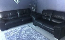 Black Leather 3 & 2 Seater Sofa With Foot Stool - Excellent Condition