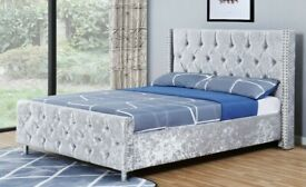 BRAND NEW SILVER CRUSHED VELVET FRAME BED WITH DIAMANTE HEADBOARD AND FOOTBOARD