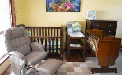 Boori Cot, Change table, Cradle, chair, Monitor, Drawers, Linens