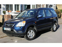 HONDA CRV 2.0 SE 2002 4x4 SUV BLUE MANUAL PETROL FSH 1 owner LOW MILES - MOT 2/19