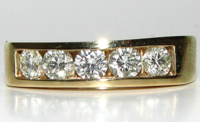 █$5000 1.00ct Diamonds Band Ring 14kt█ Classic Channel