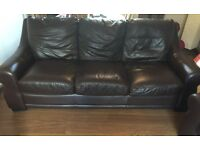 Reid's brown leather 3 piece suite .. Must be seen ...