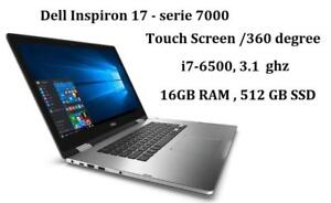 DELL INSPIRON 17 serie 7000 TouchScreen  convertible 360 degree Intel i7-6500u,turbo 3.1GHZ 16GB , 512GB SSD