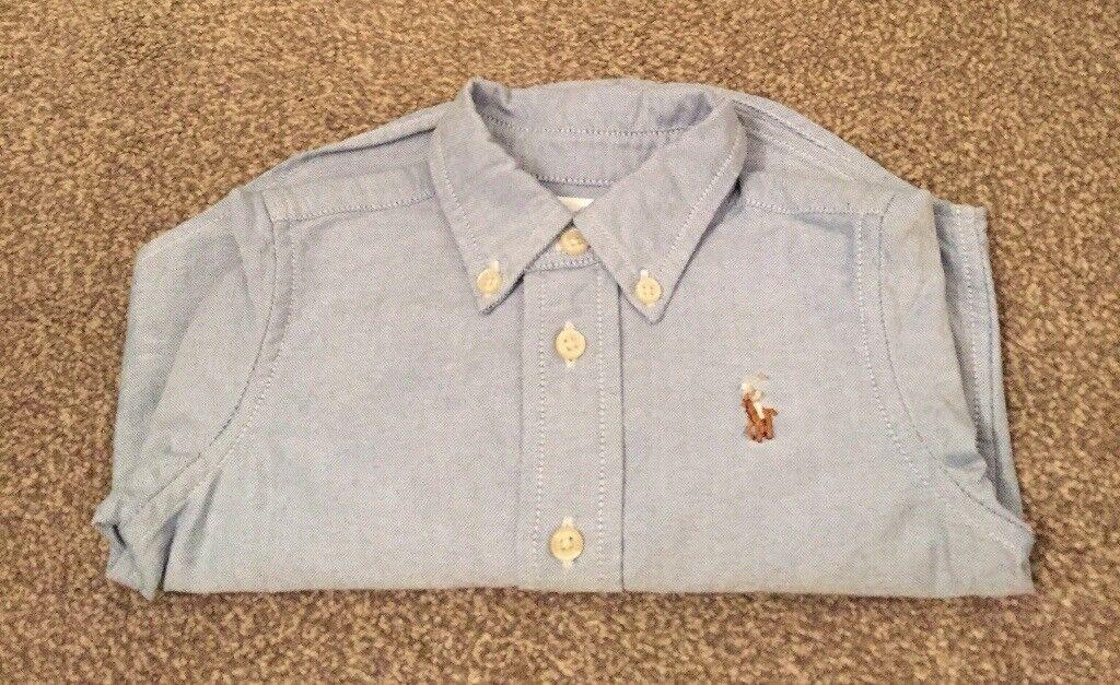 AS NEW - Genuine Ralph Lauren Long Sleeved Shirt - Light Blue - Size 9 months