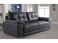 Brand New!! 3 seater black leather sofa.
