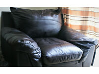 Like New Soft Italian Brown Leather Armchair / Single Bed Complete, Mattress, Boxspring, & Bedding
