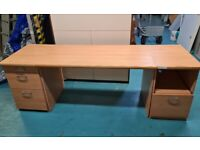 Home office Beech wood set w/ 2 pedestals desk with modesty panel, and large cupboard