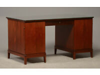 Vintage retro antique Danish Early 1900 box mahogany double pedestal office work desk