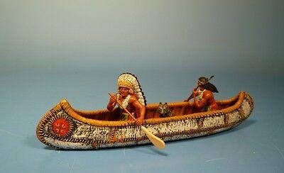 Orig.Lineol (Elastolin) Wild West – Indianer mit Kanu – 7cm Serie