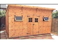 12X8FT PENT GARDEN SHED HEAVY DUTY TIMBER T&G EXTRA TALL ASSEMBLED ERECTED