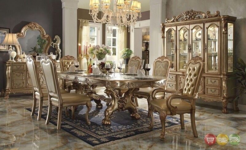 """Dresden  7-pc 76""""-108"""" Double Pedestal Dining Table In Gold Patina Carved Wood"""
