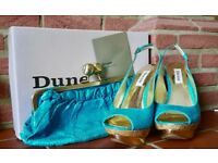 **Dune Shoes and Bag - Size 4 - Stunning Turquoise colour - RRP £165 - Worn just for a few hours!!**