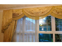 Embroidered ornate curtains with pelmets (2 pairs)