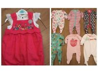 2 NEW + 7 NEXT BABY SLEEPSUITS UPTO 3 MONTHS - UNICORNS , DINASOURS , ANIMALS ,