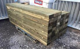 """🌲WOODEN PRESSURE TREATED POSTS ~NEW~ 6""""X 3""""X 7Ft"""