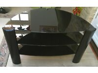 3-TIER TV/DVD/VIDEO STAND SMOKEY BLACK GLASS IN GREAT CONDITION 20cm narrowest 81cm widest 48cm high