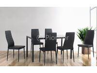dining table and 4 chairs £99 New Glass dining table with 6 chairs black New sale price reduced