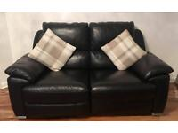 Leather 2x Two Seater Reclining Sofa's